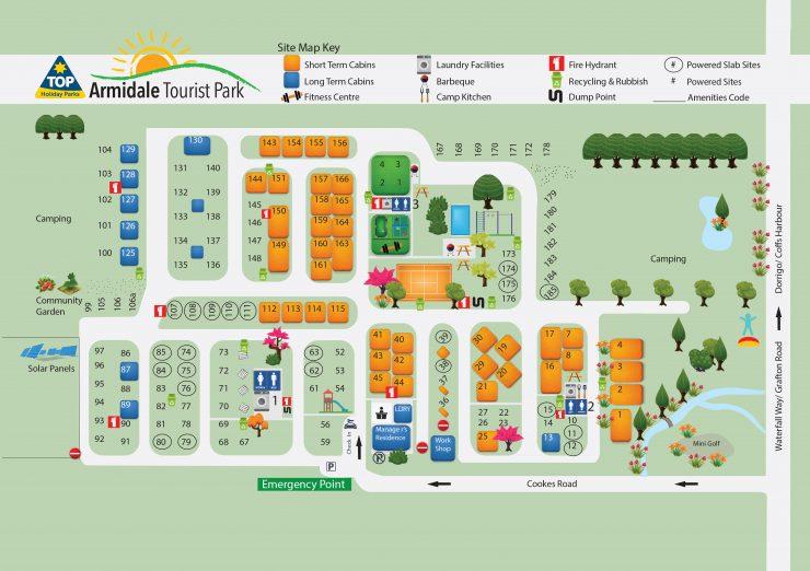 Armidale Tourist Park Map